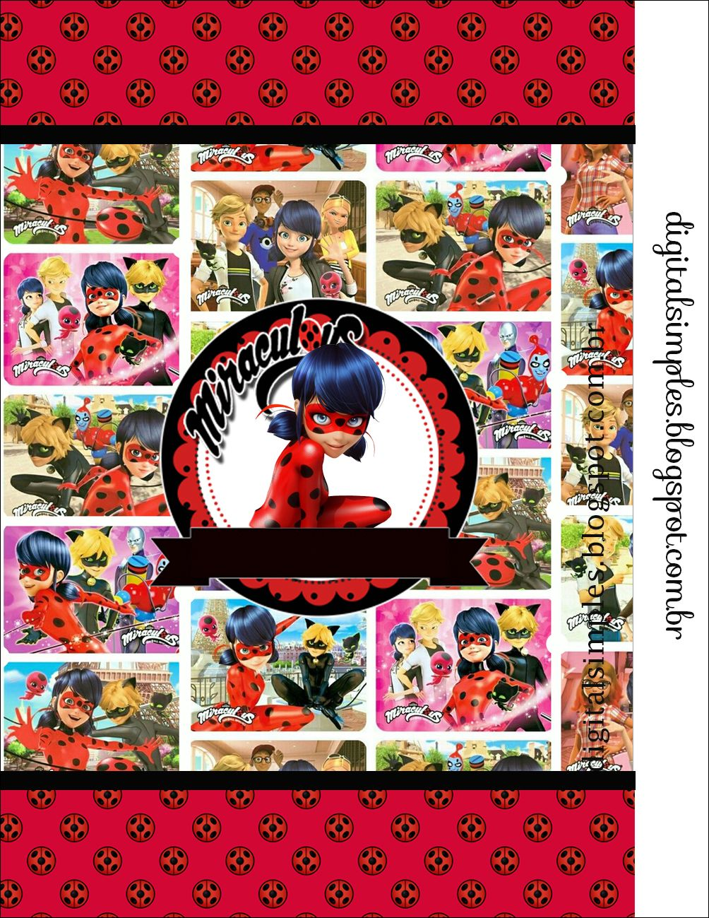 Miraculous As Aventuras De Ladybug E Cat Noir Kit Digital Para