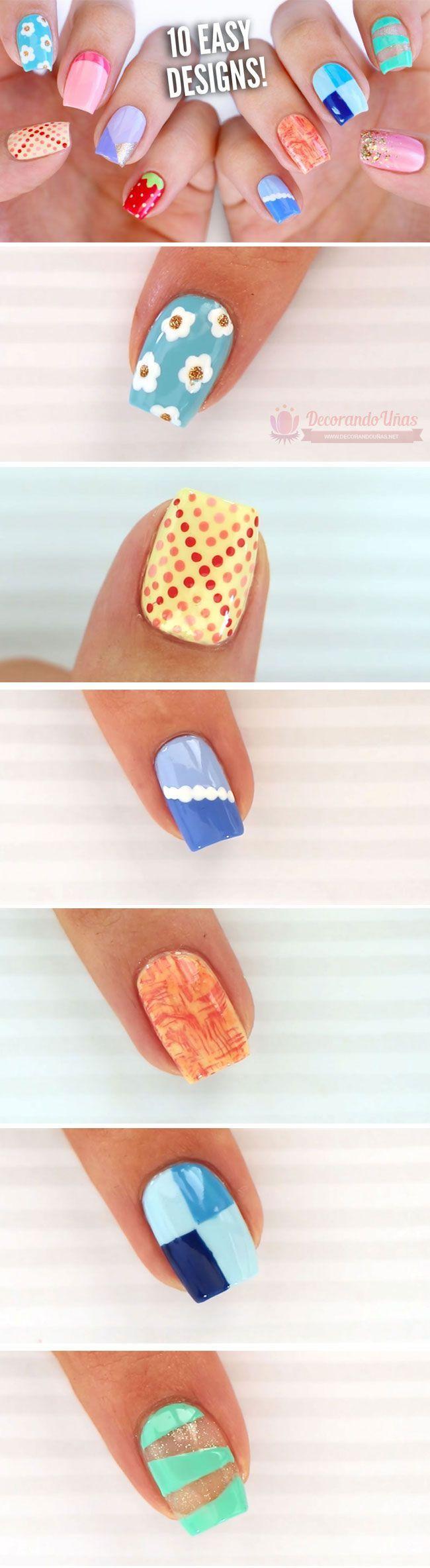 10 Diseños de uñas decoradas fáciles para principiantes | Decoración ...