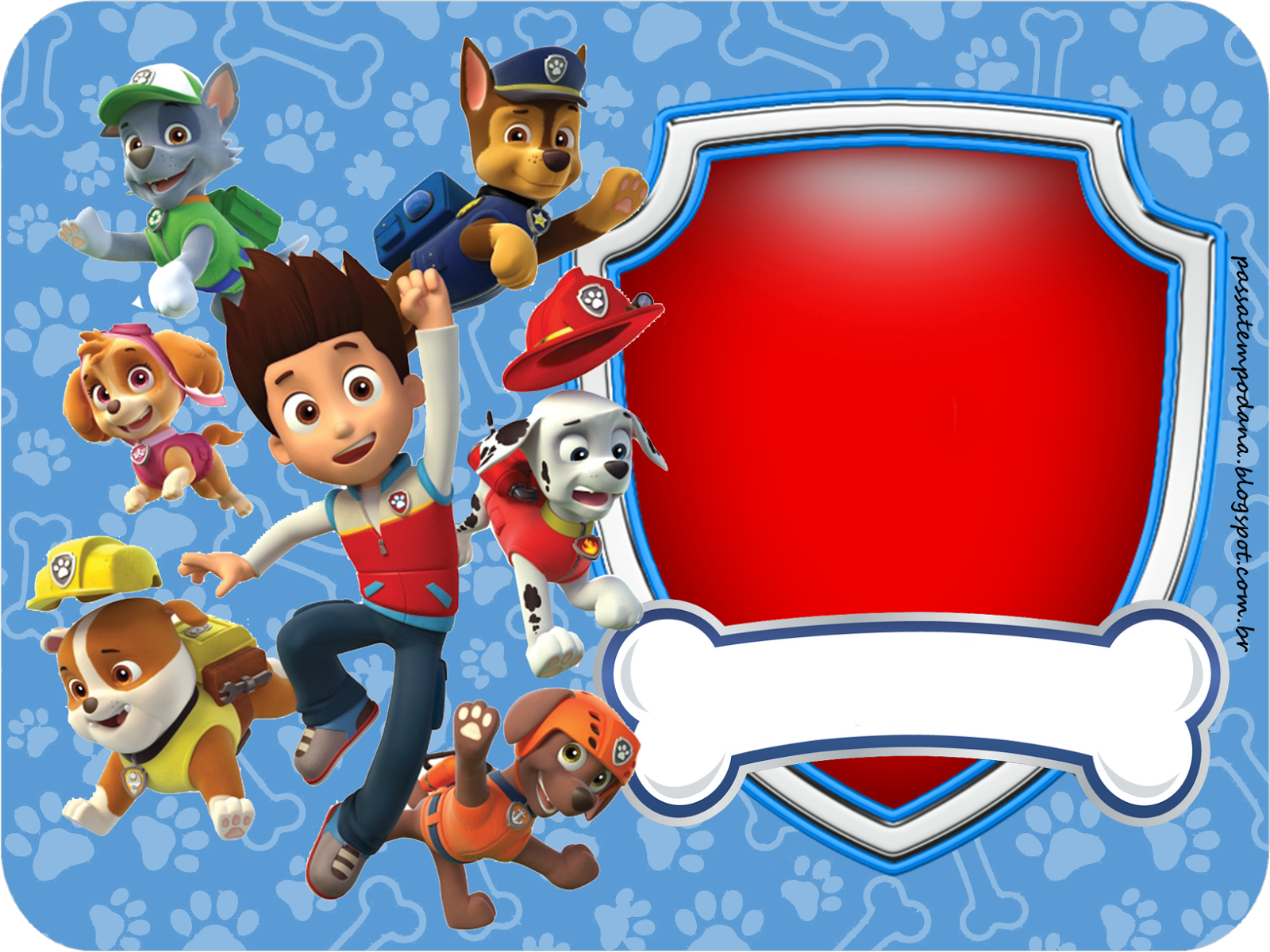 Paw Patrol In Red And Blue Free Printable Party Kit