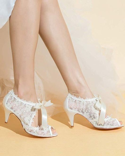 Comfortable Mid Heels Simple And Elegant Design Bridal Wedding