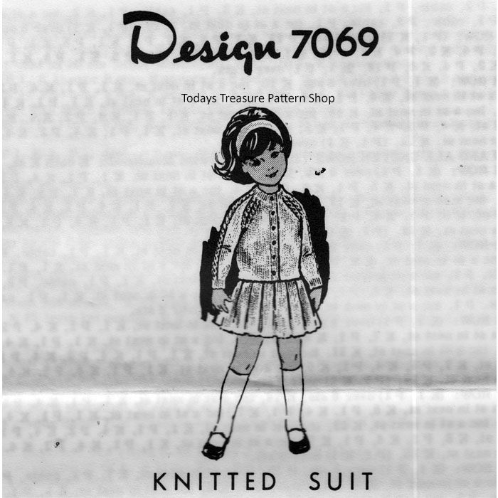 Girls Knitted Raglan Jacket Skirt Pattern - Mail Order Design 7069 ...