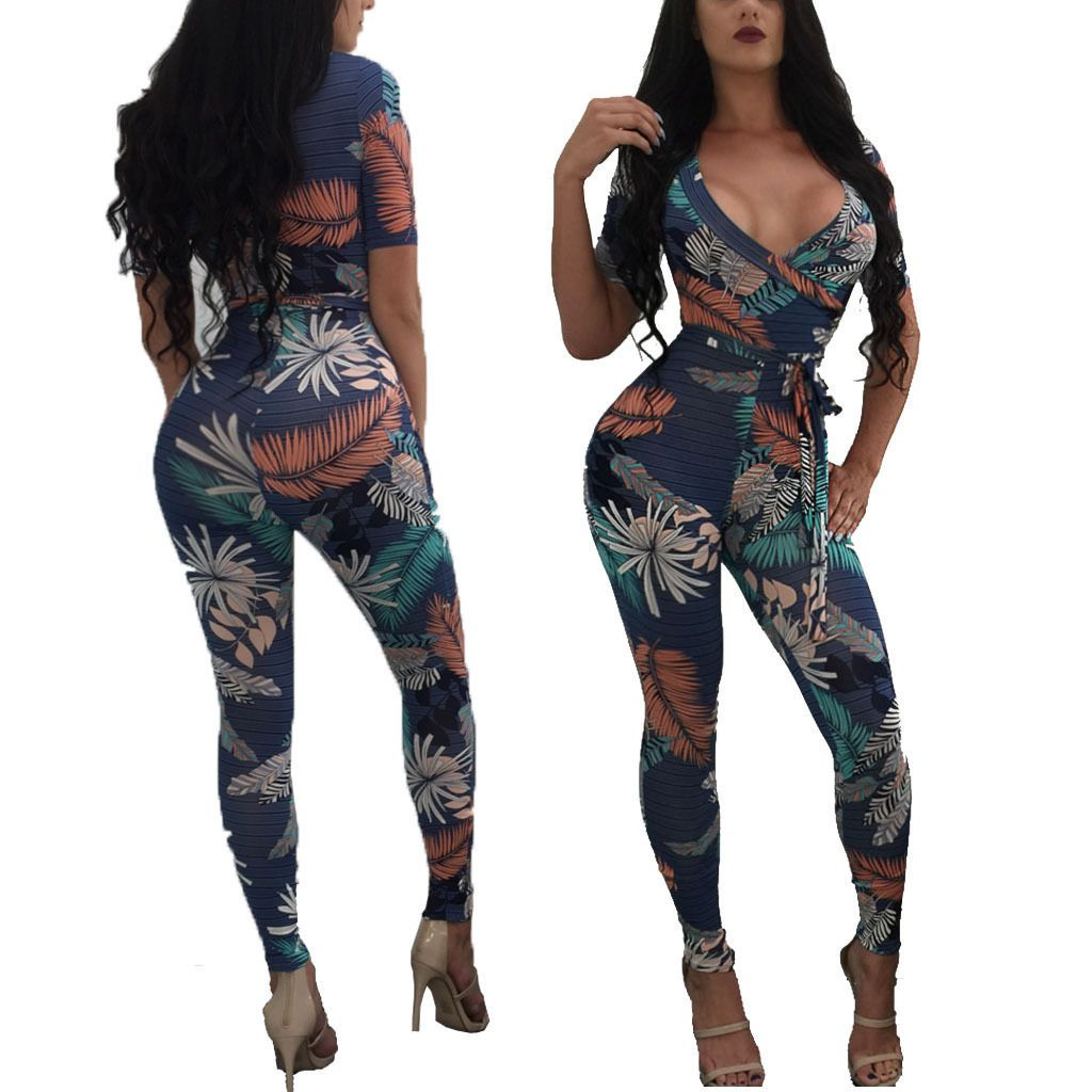 Fashion women short sleeve v neck print long pants jumpsuit casual