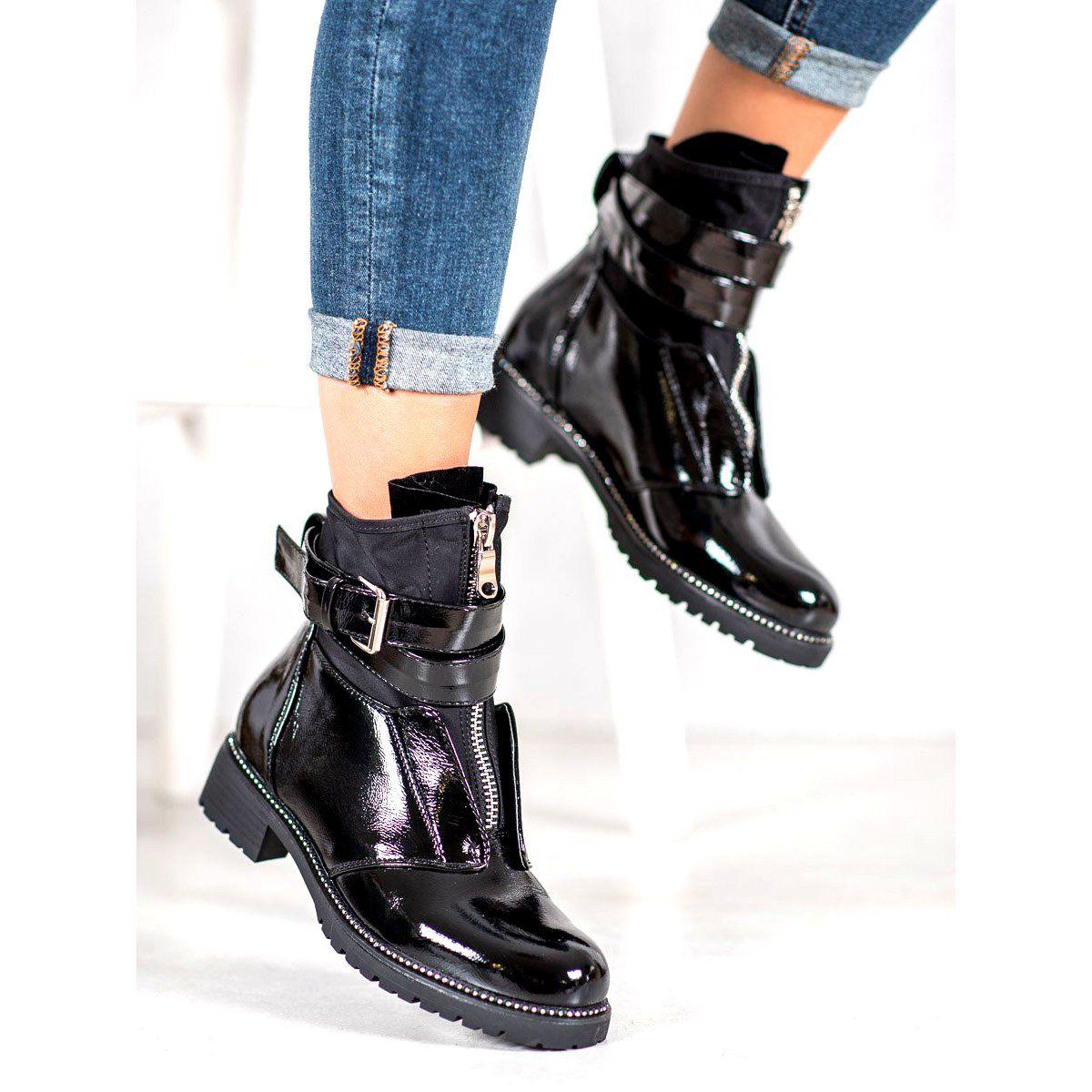 Seastar Czarne Lakierowane Botki Shoes Biker Boot Boots