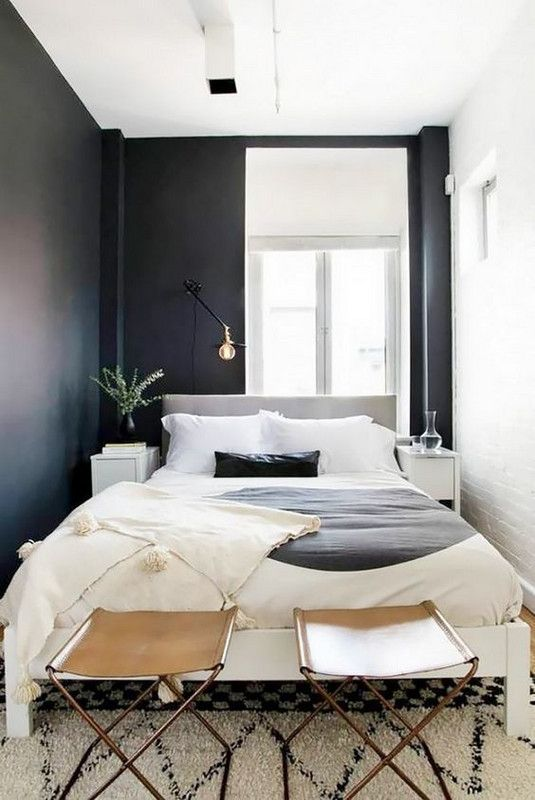11 Ways To Trick The Eye Into Believing Your Bedroom Isn T Tiny Small Apartment Bedrooms Tiny Bedroom Design Small Master Bedroom