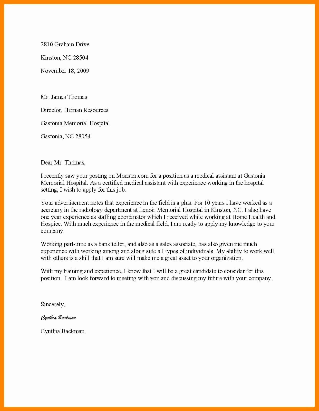 27 Medical Assistant Cover Letter Sample Cover Letter Example
