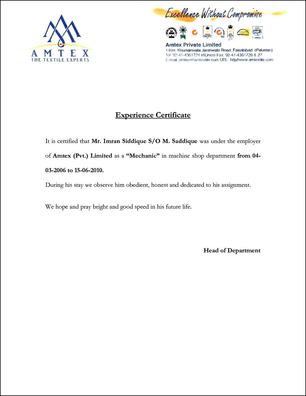 Image Result For Example Of A Good Experience Letter with