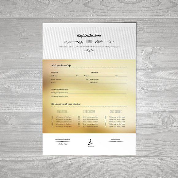 Registration Form Template v15 by Keboto on @creativemarket - enrollment form format