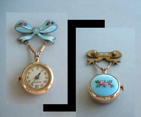 Vintage Guilloche Enamel Bow Lapel Watch Brooch Pin 17 Jewels Swiss Signed Bucherer Pendant Watches Antique Watches Vintage Jewelry