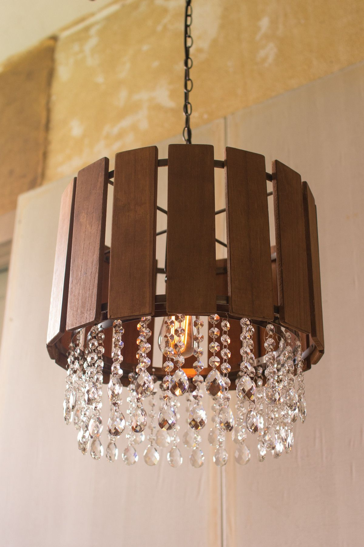 Slat Wood Pendant Light w/ Glass Gems