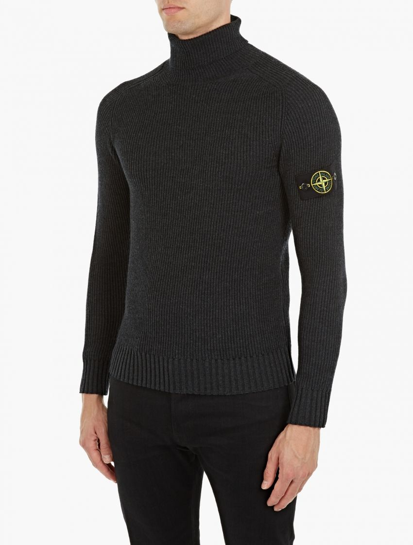 Stone Island,Charcoal Ribbed Turtleneck Sweater,GREY,1