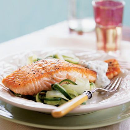 Salmon with Cucumber Salad and Dill Sauce by Cooking Light