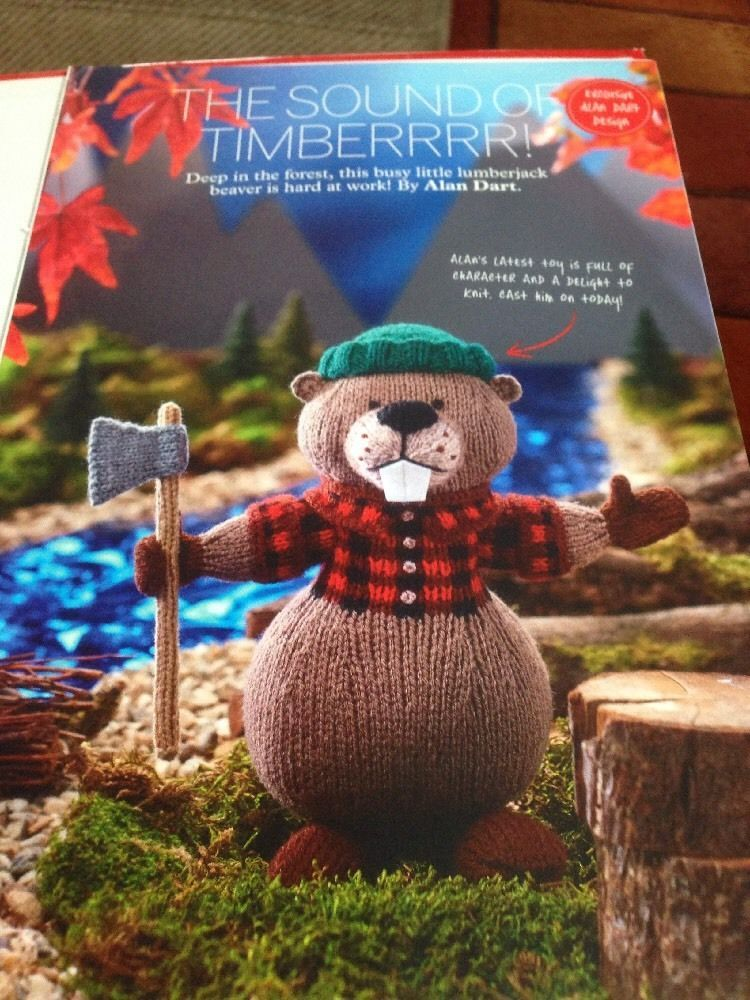 Lumberjack Beaver Toy Knitting Pattern - Alan Dart | Knitted small ...