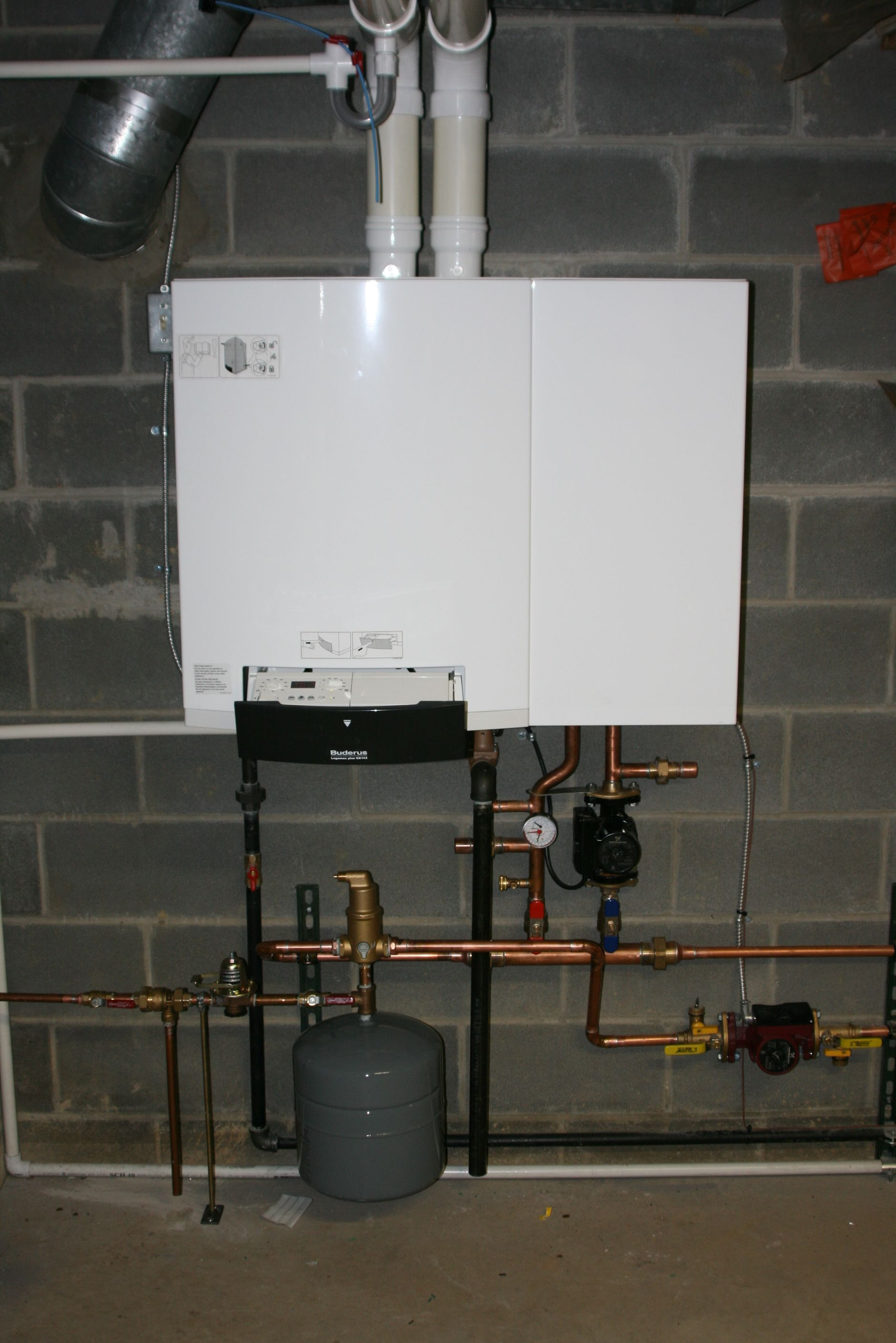 This is a Buderus GB142 boiler. It is between 92 and 96 percent ...