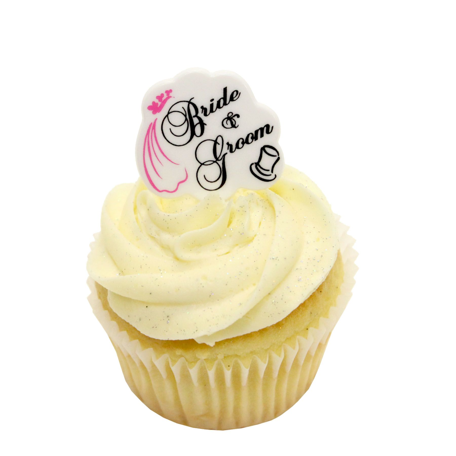 Vanilla cupcake with bride and groom topper wedding