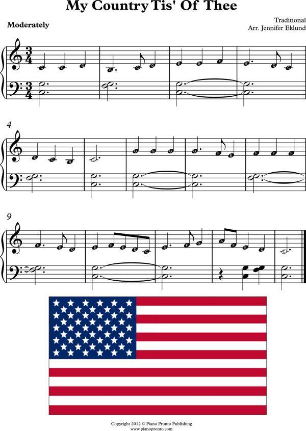 Lyric my country tis of thee lyrics : Free Sheet Music: My Country Tis' Of Thee (with note names) from ...