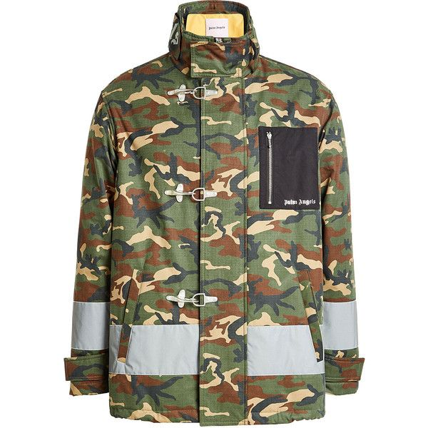 997308cc44c89 Palm Angels Cotton Camouflage Jacket (16.641.655 IDR) ❤ liked on Polyvore  featuring multicolored, mens urban jackets, mens gray leather jacket, mens  cotton ...