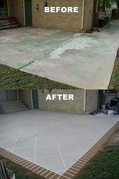 This Is Kinda Cute Concrete Patio Concrete Patio Makeover
