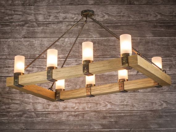 Rustic Chandelier Light Wood Rectangle Candles Ropes Fittings Metal Iron 100cmx60cm Rustic Chandelier Rustic Chandelier Lighting Rustic Rectangular Chandelier