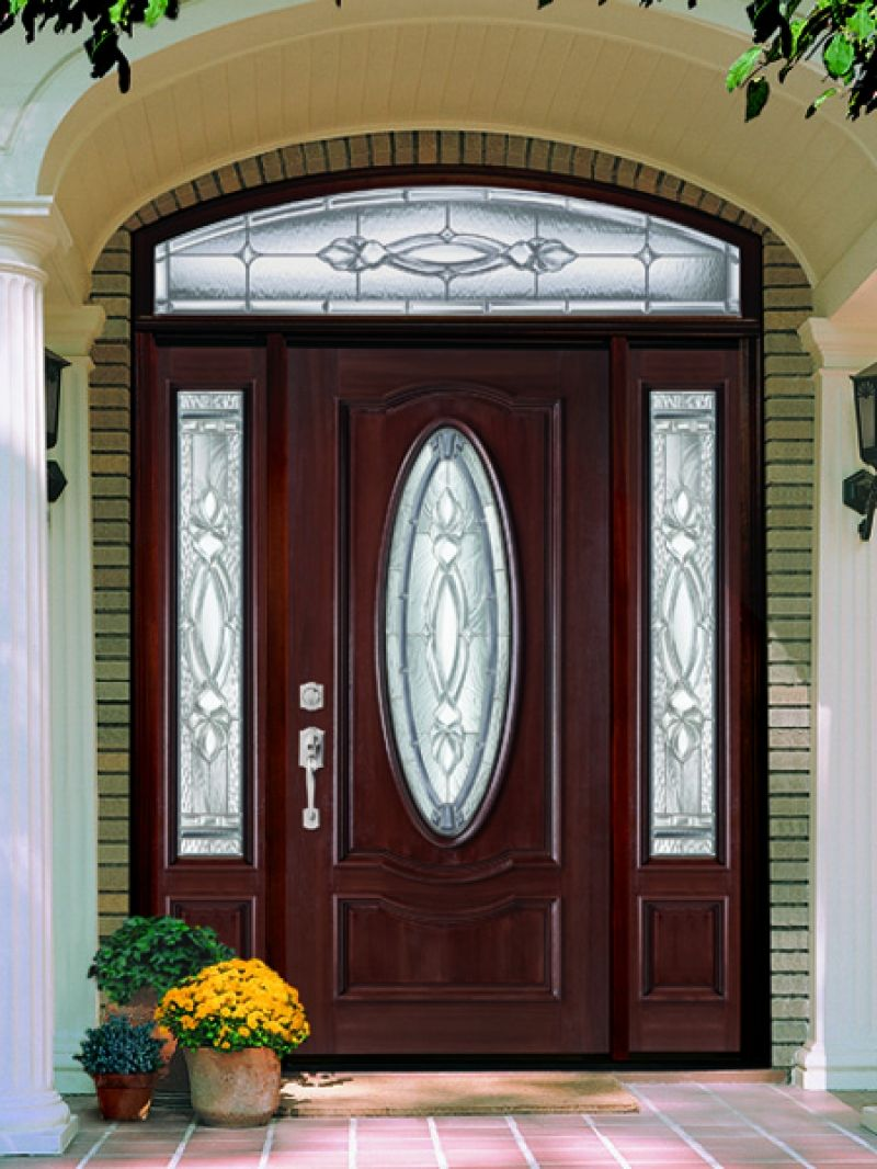 Sweet Brown Wood Lighted Masonite Entry Doors Design