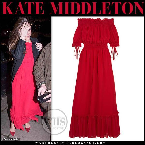 Kate Middleton in red ruffled maxi dress red pumps and black coat #duchess #cambridge #fashion #style #royals #royalfamily #gown #outfit #celebrity #catherine #pumps #red #pumps