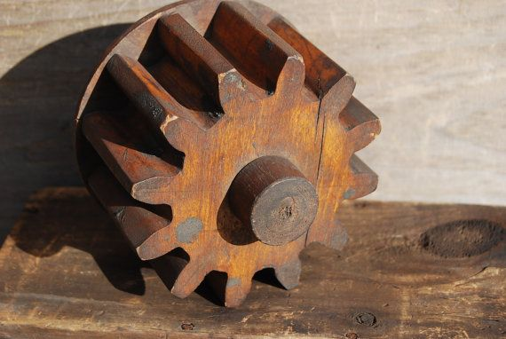 Vintage Wooden Gear Foundry Mold by Psychedelphia on Etsy