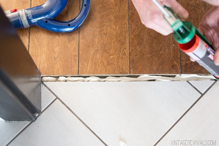How To Make Your Own Threshold Piece For Wood Flooring From Leftovers Vintage Revivals Wood Floors Tile To Wood Transition Diy Flooring