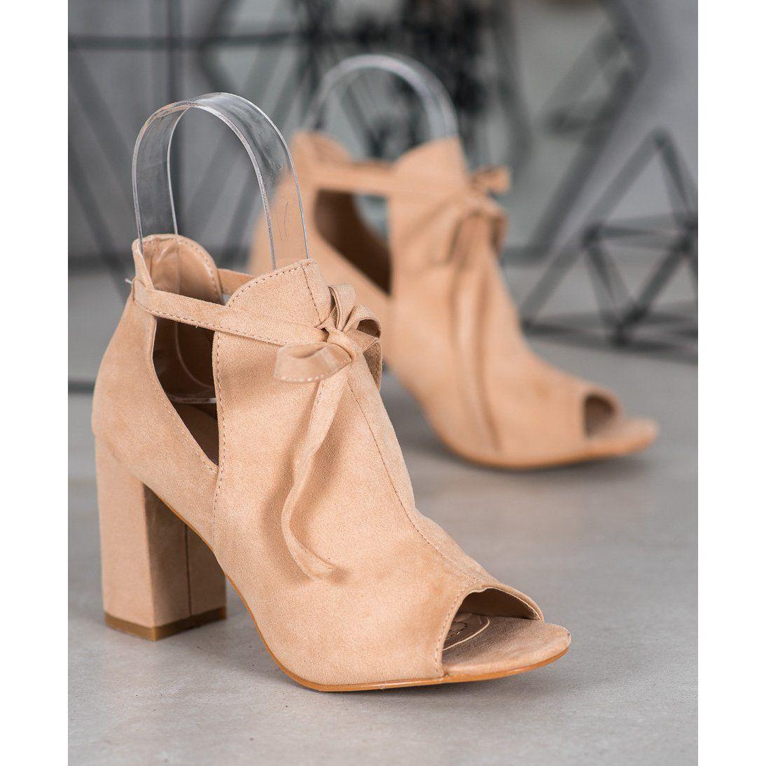 Wiazane Botki Open Toe Vinceza Bezowy Boots Leather Heels Womens Heels