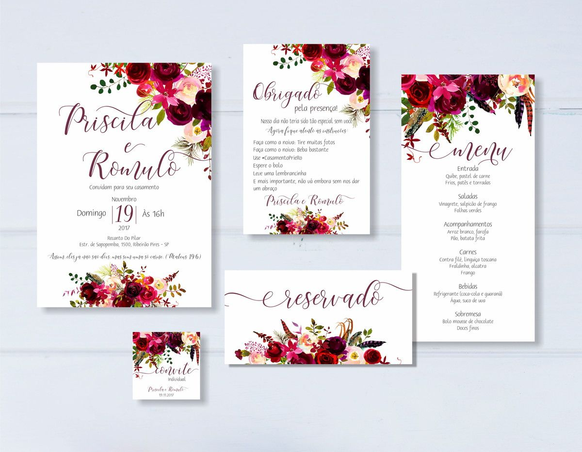 Extremamente Identidade Visual Casamento Marsala - Arte Digital | Wedding stuff  JI06