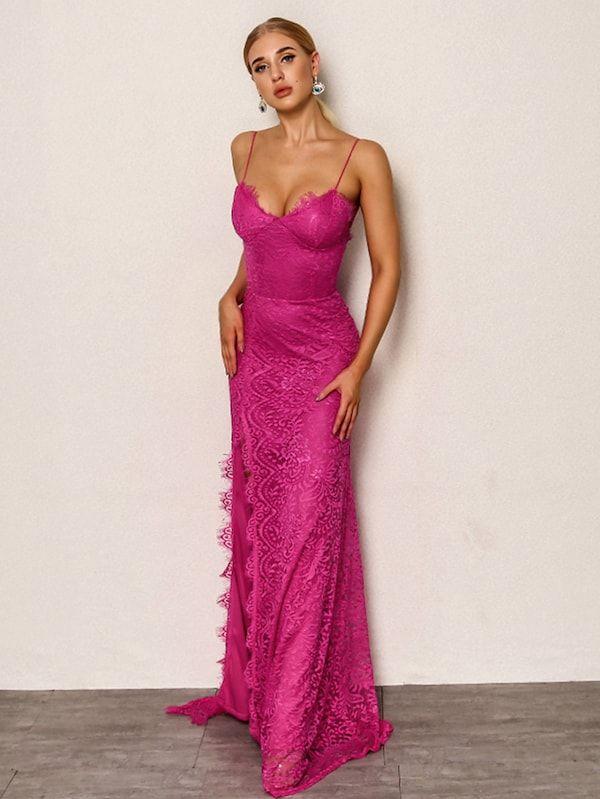 9445321944 Joyfunear High Split Open Back Bodice Lace Overlay Dress -SheIn(Sheinside)