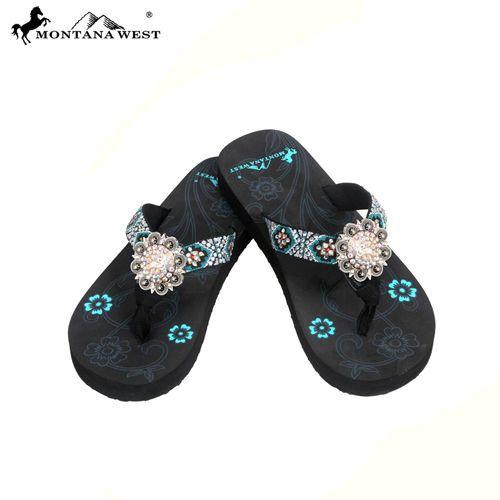 04ffff07d63883 Montana West Aztec Collection Flip Flops Women Thin Sole Sandals Bling  Turquoise