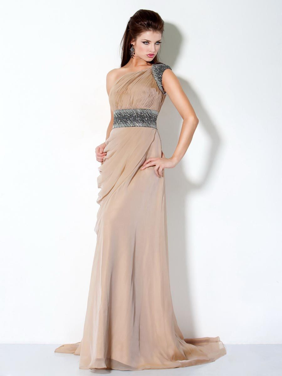 Lovely Lace Evening Dresses : Champagne Column One Shoulder Floor ...