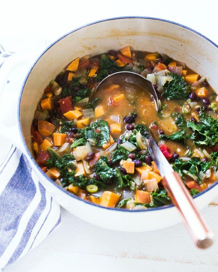 Hearty Sweet Potato Kale Soup A Couple Cooks Recipe Oven Recipes Healthy Kale Soup Recipes Kale Soup