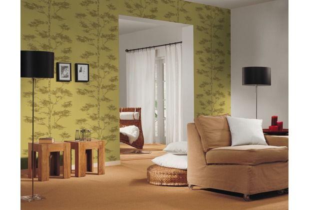 Rustikales und lässiges Design durch eine Tapete mit Baum-Motiv - wohnzimmer tapete grun