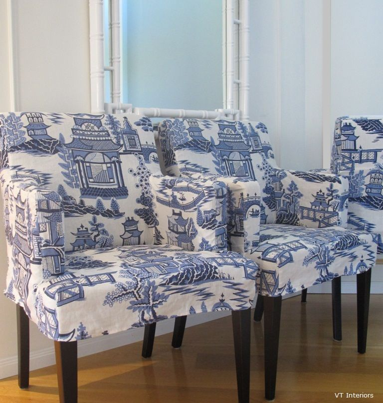 toile slipcovers - not my thing but could use chair style plus slipcovers for dining chairs