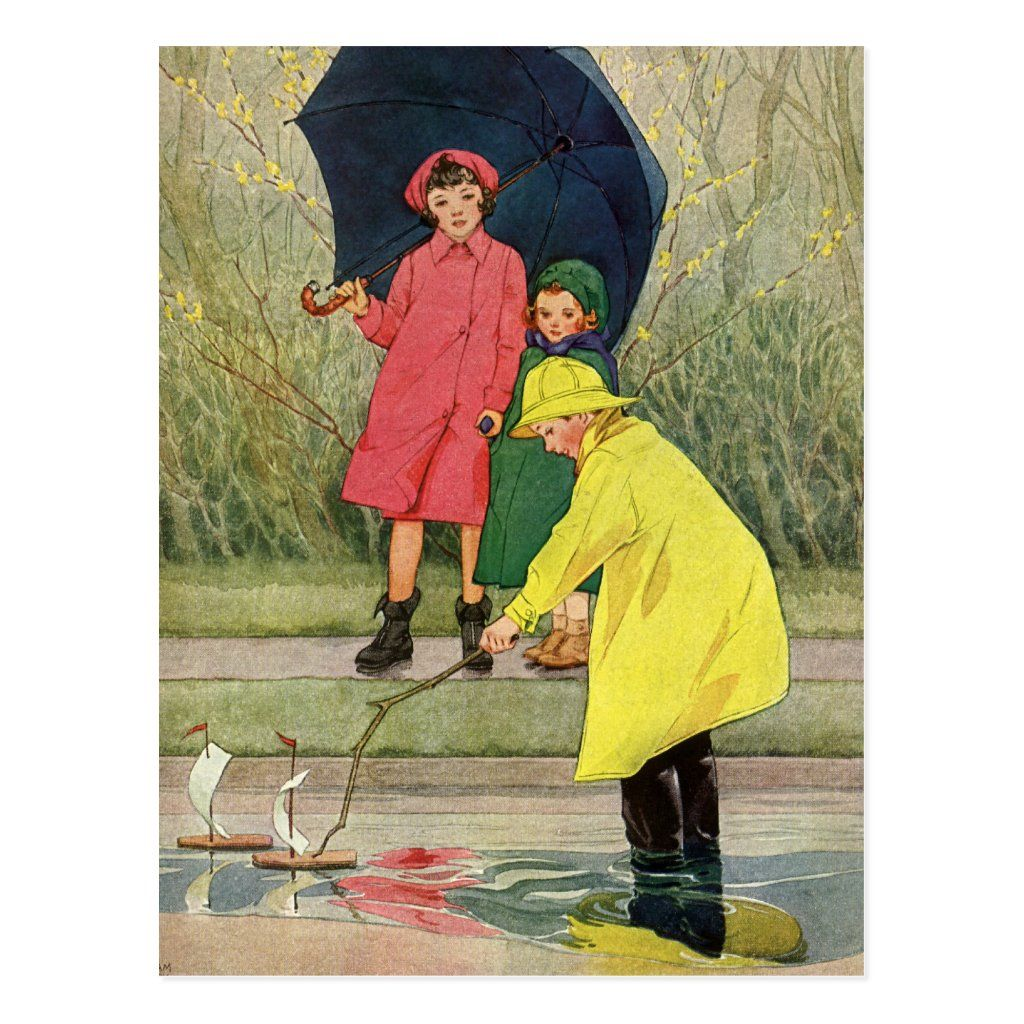 A Rainy Day In New York Bern Vintage Children Playing Puddles Toy Boats Rain Postcard Zazzle Com Vintage Illustration Children Poster Prints Rainy Day Fun