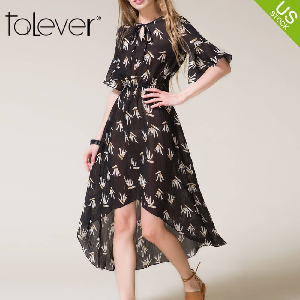 Nice women flare sleeve casual beach party cocktail dress summer new