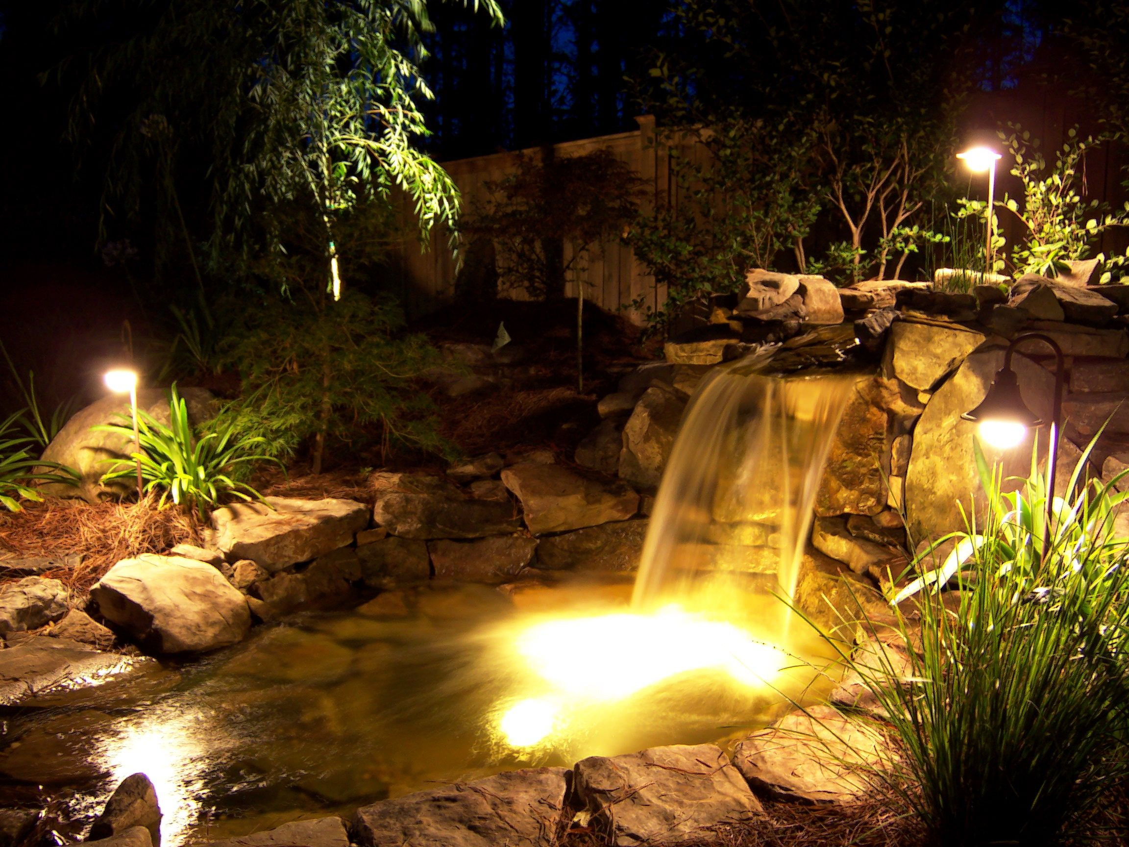 Night Lighting Water Feature Pond Lights Modern Landscape Lighting Landscape Lighting