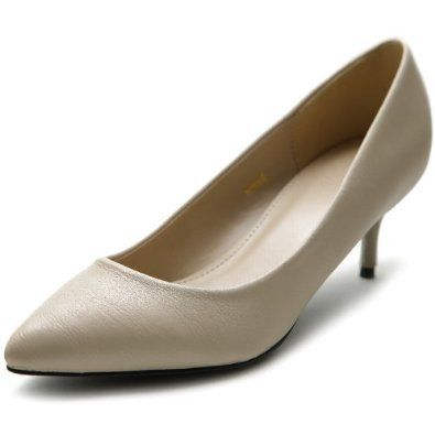 Ollio Women's Shoe D'Orsay Pointed Toe Simple Mid Heel Pump on Wanelo
