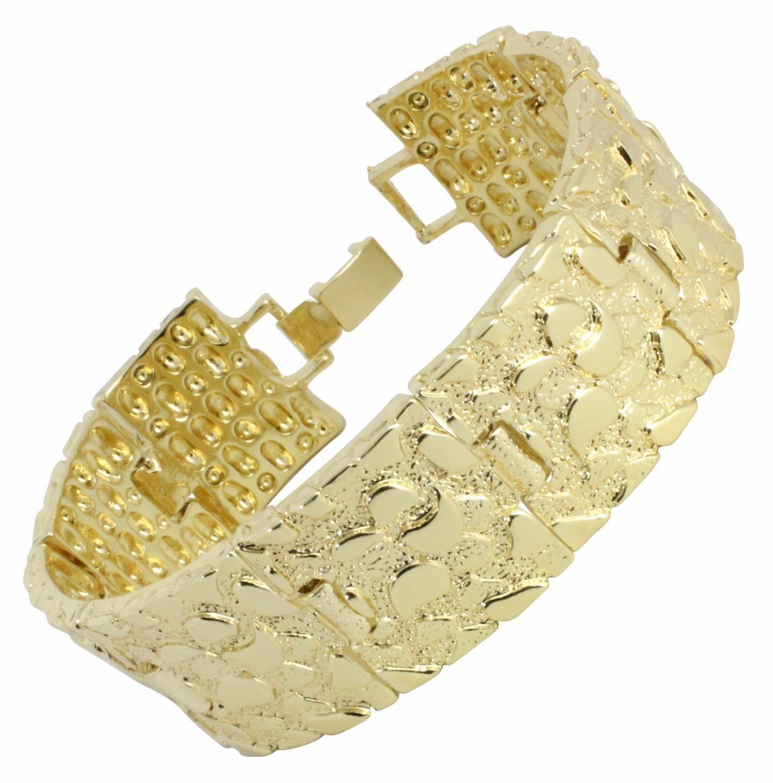 e999c7f8a64fd Mens Nugget Bracelet 14K Gold Plated 7Mm 14Mm 24Mm 8 Inch Hip Hop ...