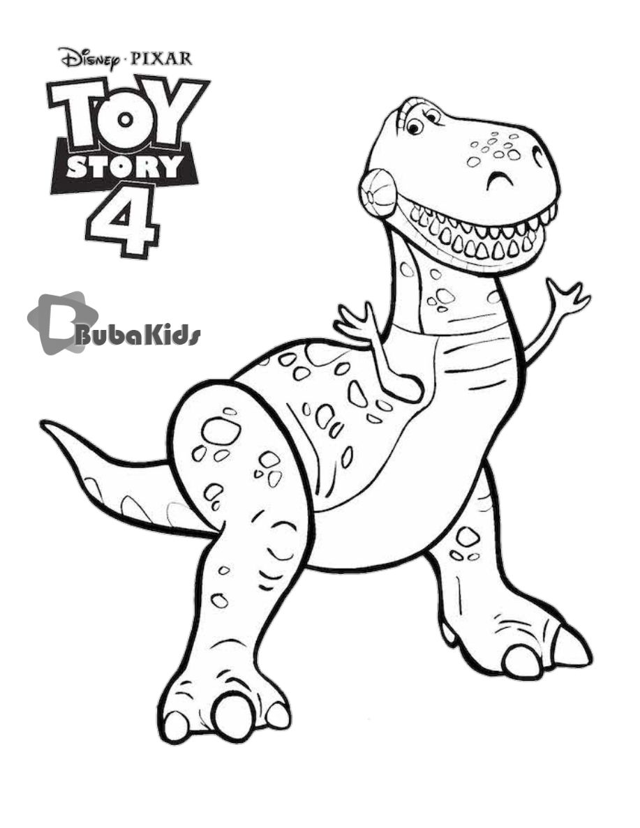 This Is Rex The Meanest Most Terrifying Dinosaur Who Ever Lived Disney Pixar Rex Toy Story 4 Disneyp Cartoon Sewing Disney Coloring Sheets T Rex Cartoon