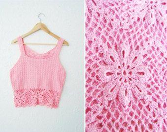 La parte superior Abby Vintage 60s 70s Crochet por WinstonVintage