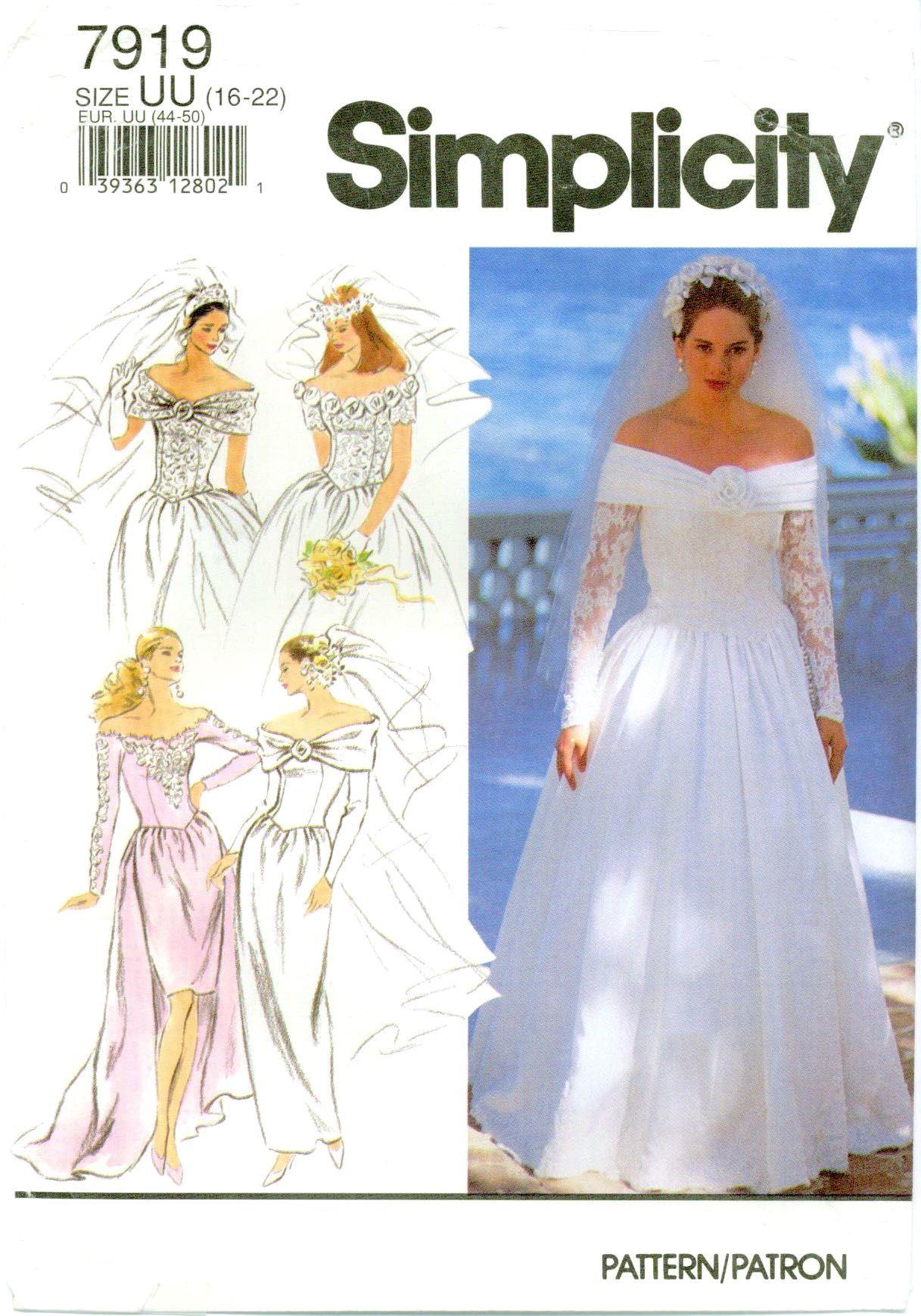 Simplicity 7919 Misses Bridal Bride Wedding Gown 16 22 Vintage Pattern Uncut Ff Sewing Wedding Dress Wedding Dress Patterns Wedding Dress Sewing Patterns [ 1739 x 1217 Pixel ]