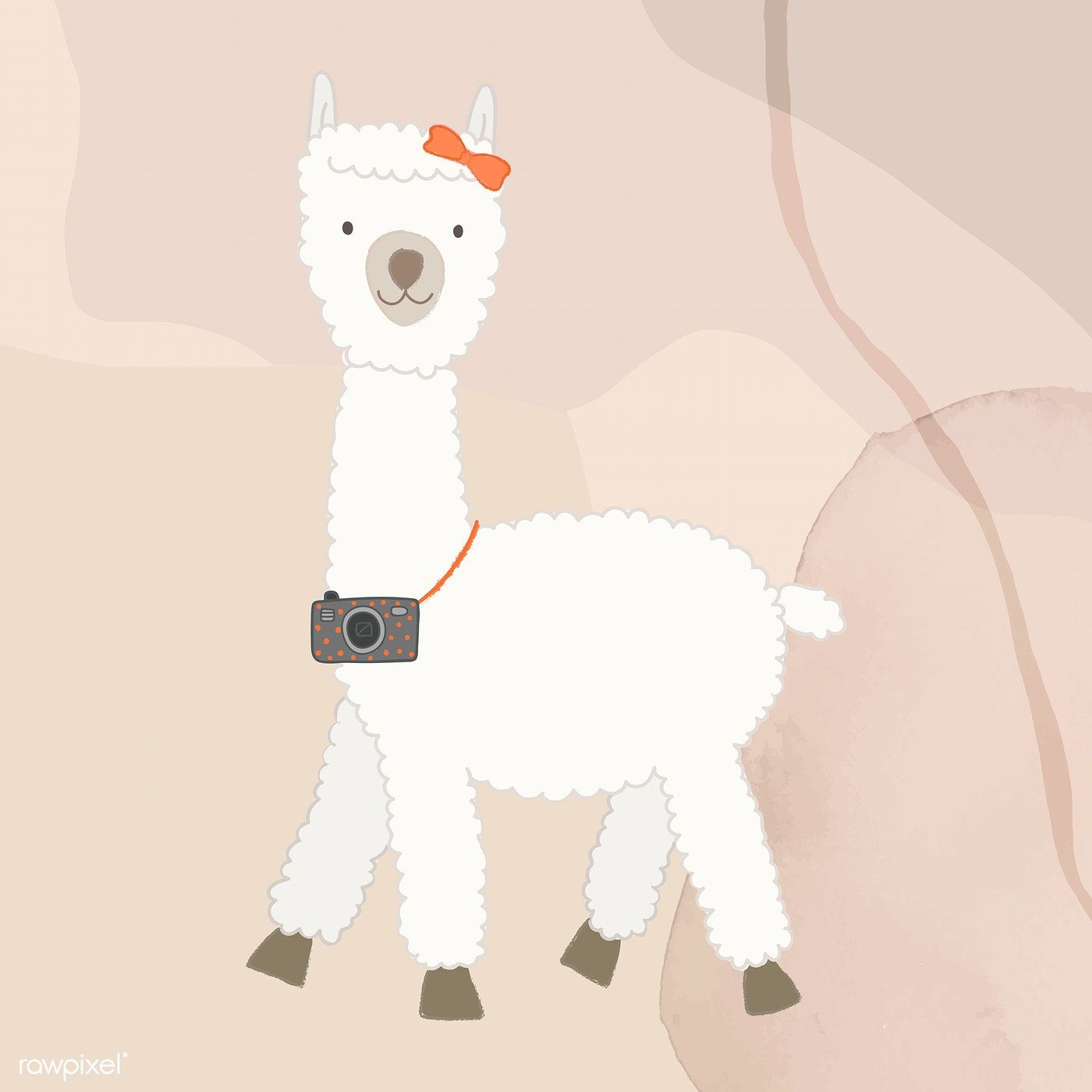 Download Premium Vector Of Adorable Alpaca With Camera Vector