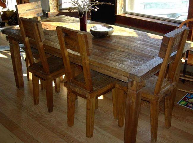 Rustic Teak Wood Furniture Made Of Reclaimed Wood Eclectic Dining Tables Teak Dining Table Wood Dining Room Set
