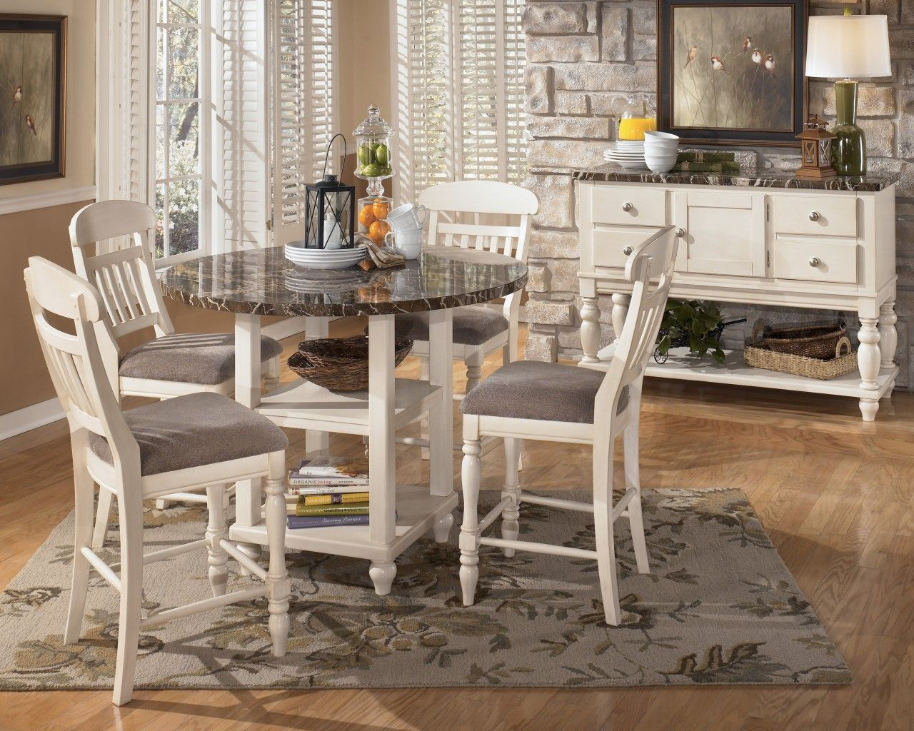 Counter height round table and chairs - Dining Room White Classic Wooden 5 Piece Dining Set Design Style With Marble Surface Above Dining Counter Height