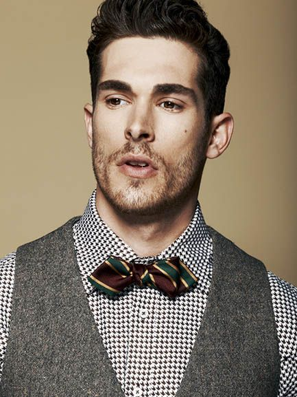 Tweed Vest, Patterned Shirt, Striped Bow Tie