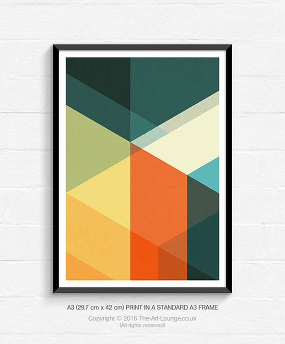 mid century modern geometric art sunrise abstract art vintage colours art print abstract. Black Bedroom Furniture Sets. Home Design Ideas