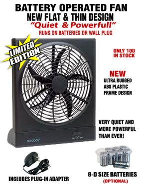 fan battery. This O2 Cool Battery Operated Fan Runs On Batteries Or The Included Wall Plug. It\u0027s