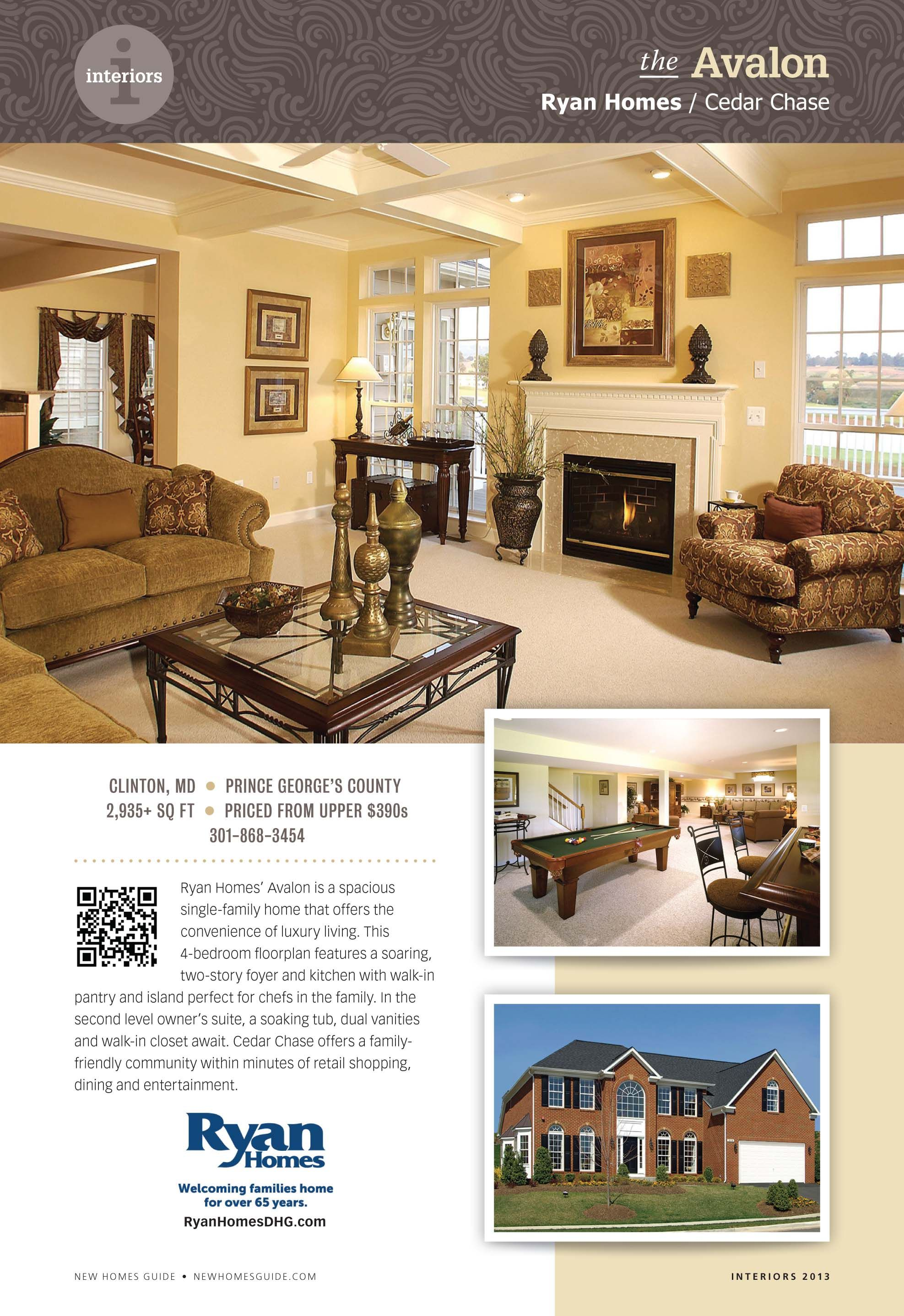 new construction single family home for sale u2014avalon u2014ryan homes