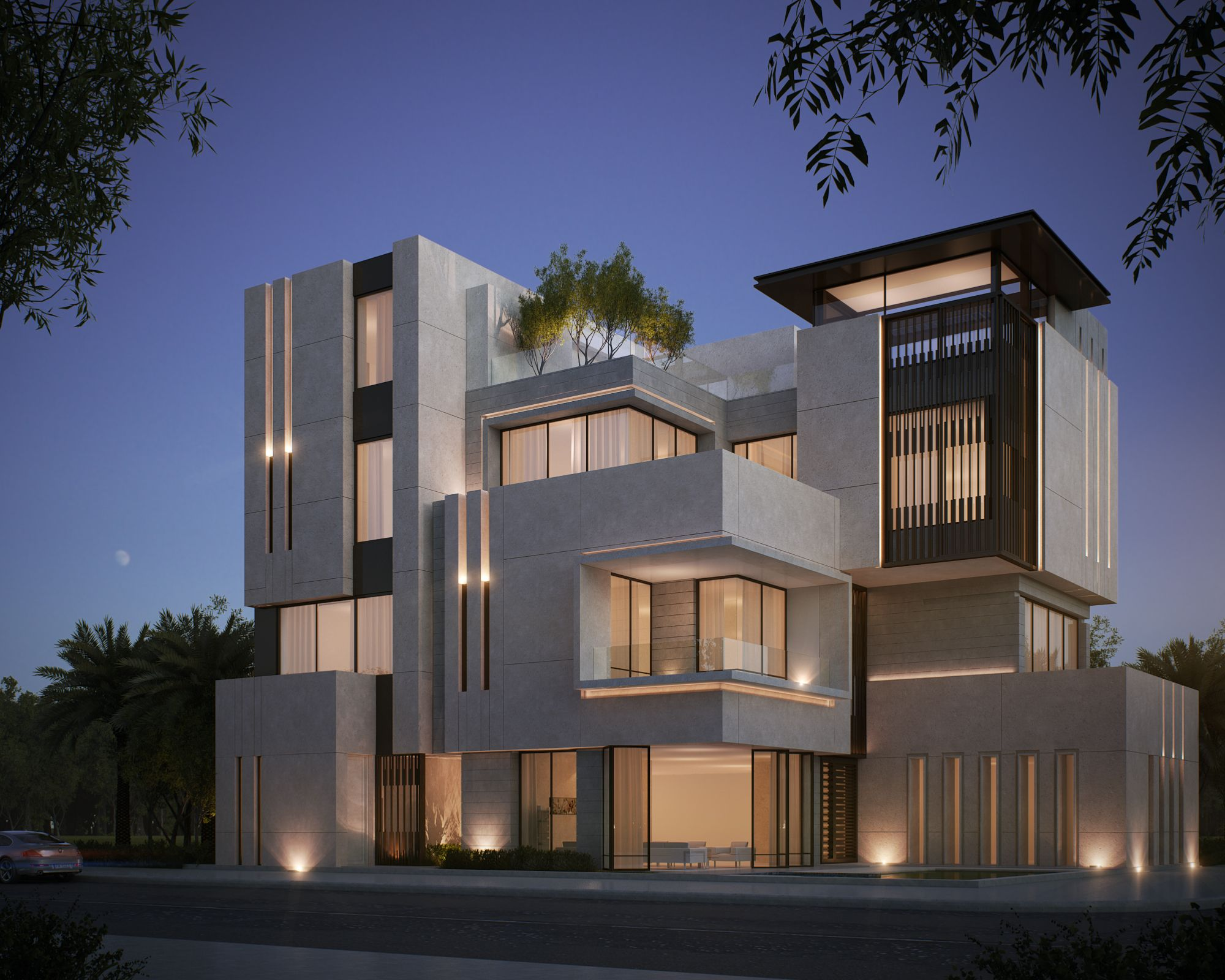 Private villa 500 m kuwait sarah sadeq architects sarah for Modern villa architecture design